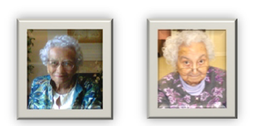 Old womens in wall picture frame